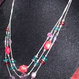 New KIM ROGER 3-CHAIN BEAD NECKLACE RED PRPL TEAL